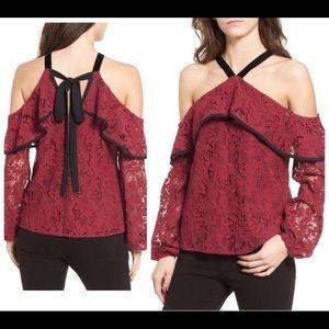 WAYF Burgundy Lace Ruffle Velvet Strap Blouse Top